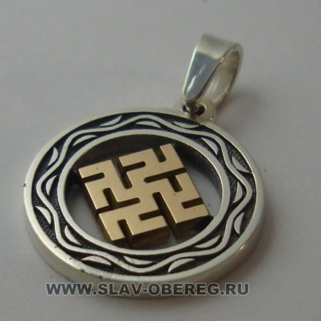 Одолень Трава со Славянским узором серебро с золотой серединой