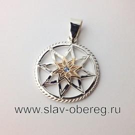 Алатырь Щит оберег золото с серебром