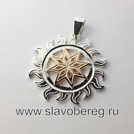 Алатырь серебро с золотом оберег