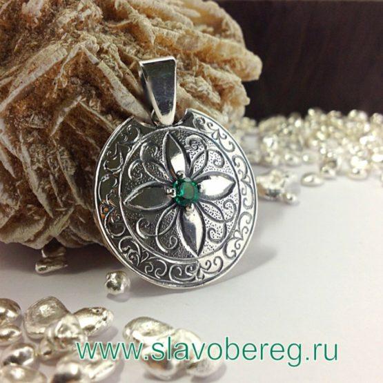 Славянский Оберег из серебра с изумрудом
