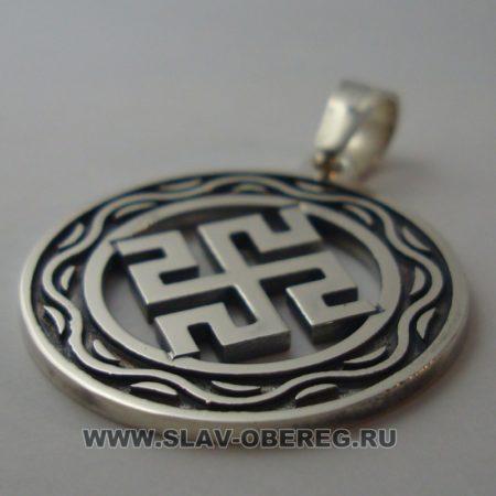 Двухсторонний Оберег Родовик Боговник со Славянским узором из серебра