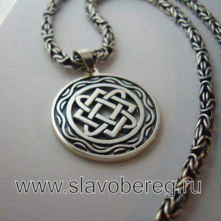 Оберег Звезда Лады со Славянским узором из серебра