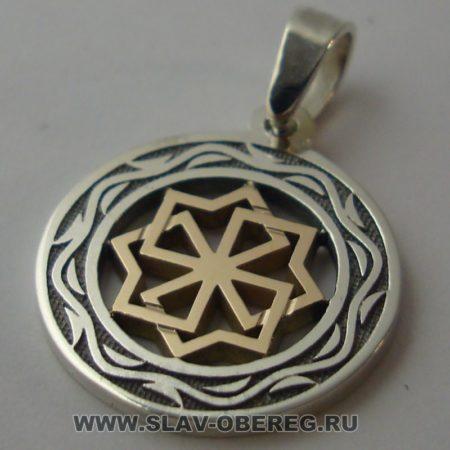 Молвинец со Славянским узором серебро с золотой серединой