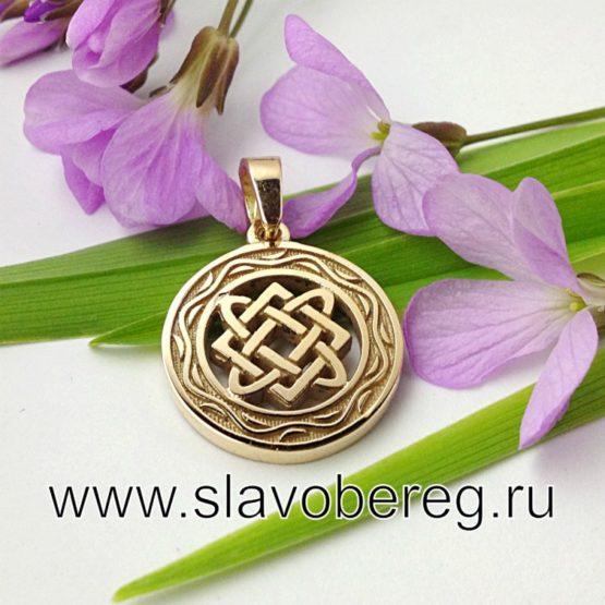 Звезда Лады со Славянским узором из золота