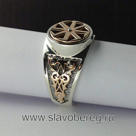 Перстень с вращающимся символом Коловрат серебро и золото