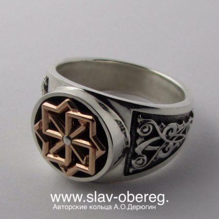 Славянский перстень с вращающимся символом Молвинец