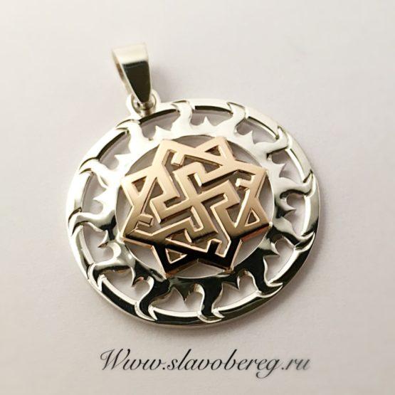 Валькирия в солнечном круге из серебра и золота