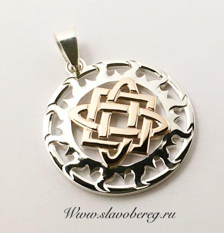 Звезда Лады Богородицы в солнечном круге из серебра и золота