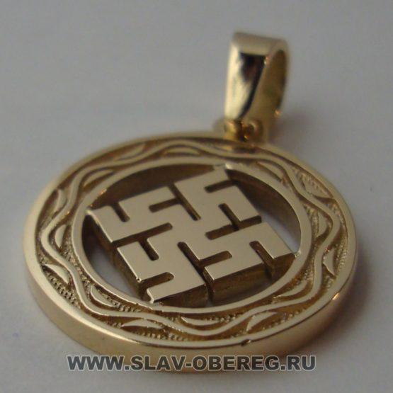 Цветок Папоротника со Славянским узором из золота