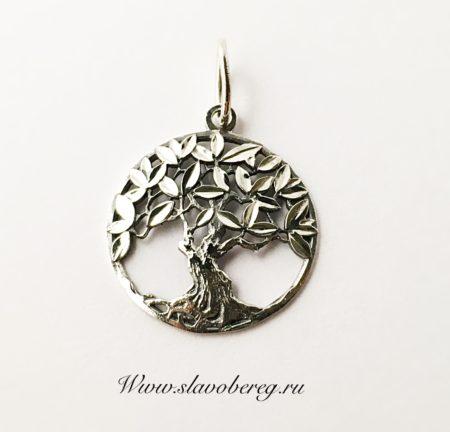 Оберег Дерево Рода из серебра 925 пробы
